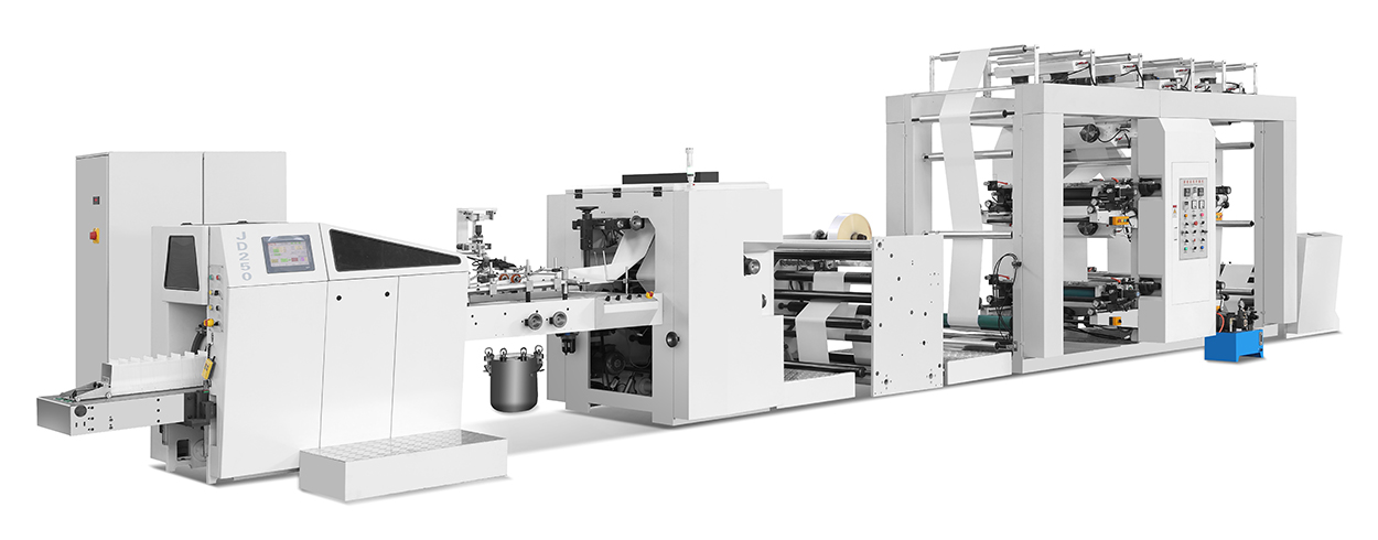 RZJD-G250J Full Automatic High Speed Sharp Bottom Paper Bag Machine With 2/4 Color Flexo Printing Macine